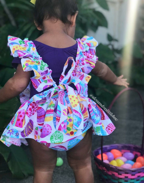 Easter Eggs Skirted Bloomers With Ruffle Suspenders - AlessandrasLittleBow