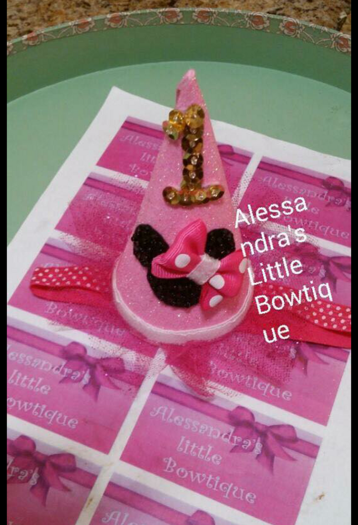 Pink minnie mouse birthday party hat