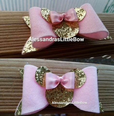 Pink and gold Minnie mouse glitter bow - AlessandrasLittleBow