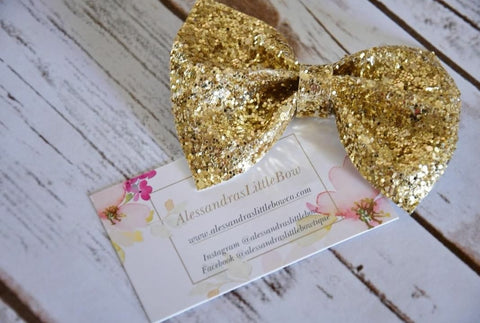 Gold glitter statement bow - AlessandrasLittleBow