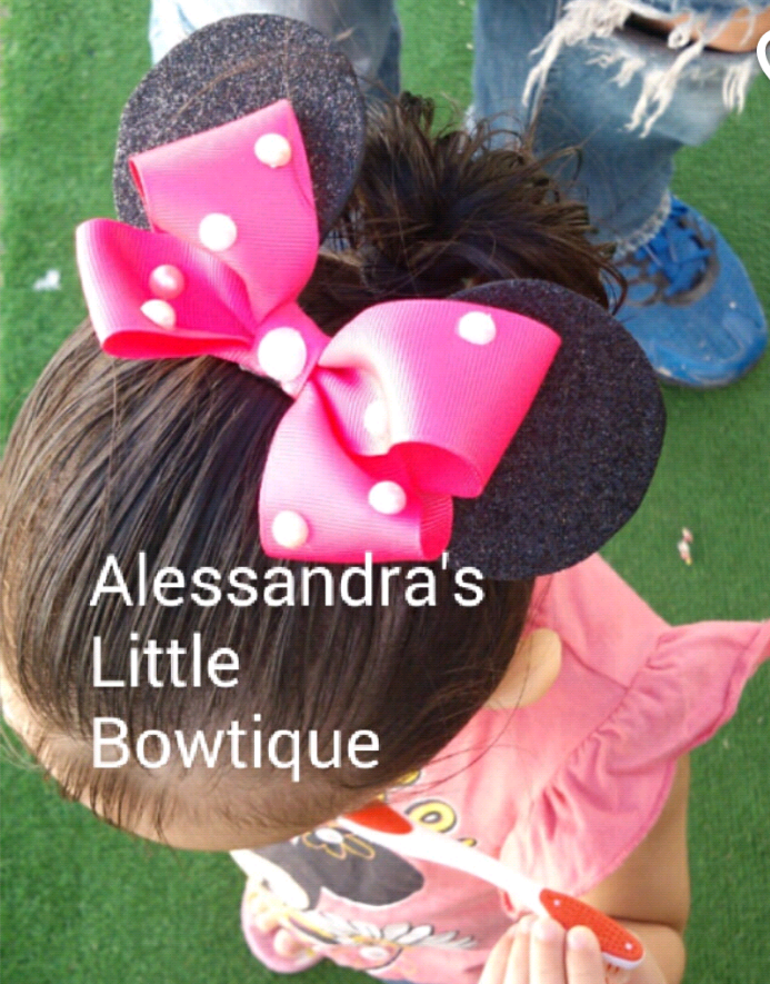 Pearl bow headband with ears - AlessandrasLittleBow