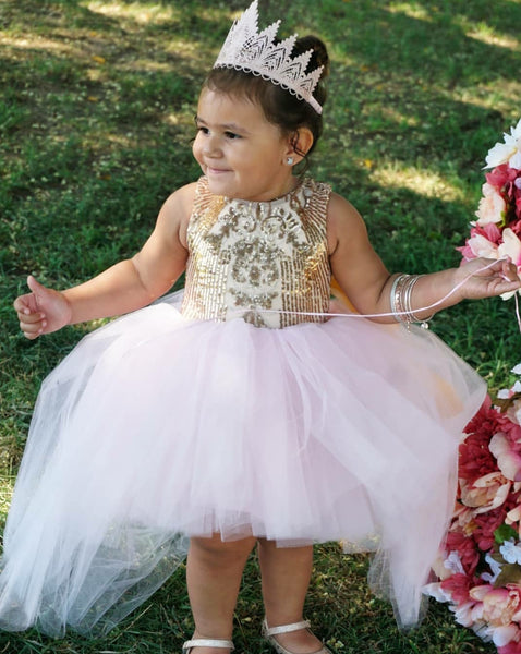 High Low Deluxe Couture Dress in Pink and Gold - AlessandrasLittleBow