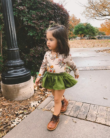 Dark Olive skirted bloomers - AlessandrasLittleBow