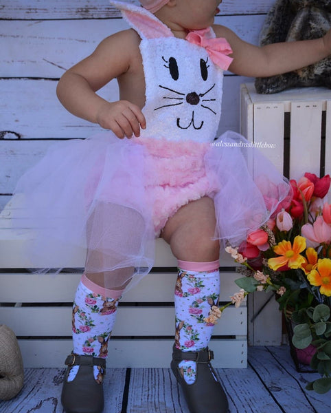 White and pink Bunny Romper - AlessandrasLittleBow