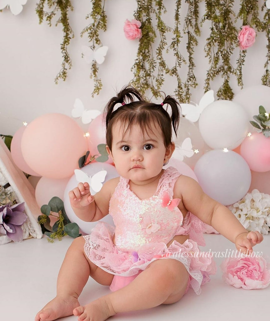 Pink and White colorful Butterfly Romper