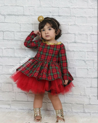 Christmas Plaid Couture Dress