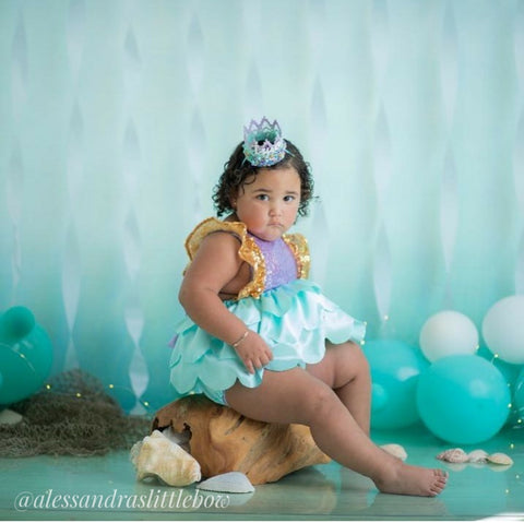 Mermaid Luxury Romper in Lavender and aqua
