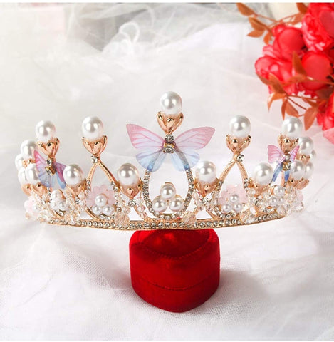 Gold pearl Butterfly crown - pre order