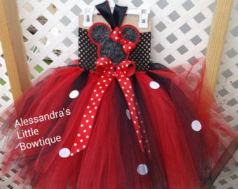 Red and black Minnie mouse tutu dress - AlessandrasLittleBow
