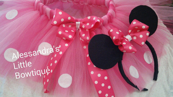 Pink minnie mouse tutu and headband set - AlessandrasLittleBow