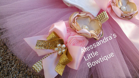 Beautiful pink and gold headband - AlessandrasLittleBow - Headband - Alessandras Little Bow -  -  -