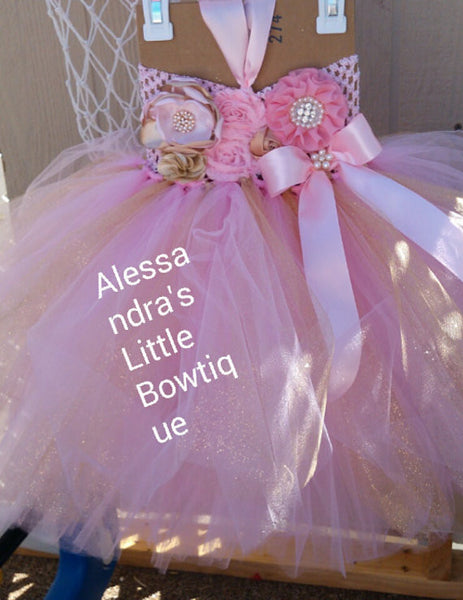 pink and gold tutu dress - AlessandrasLittleBow - tutu dress - Alessandras Little Bow -  -  -  - 2