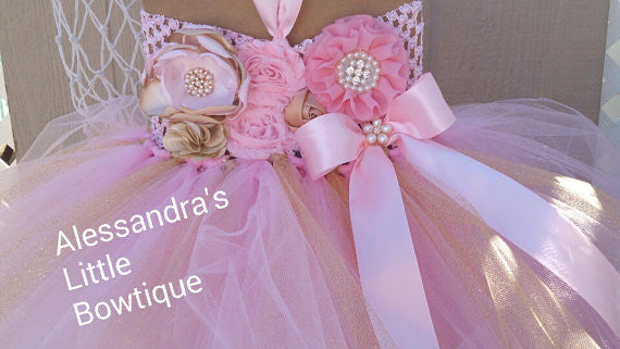 pink and gold tutu dress - AlessandrasLittleBow - tutu dress - Alessandras Little Bow -  -  -  - 3