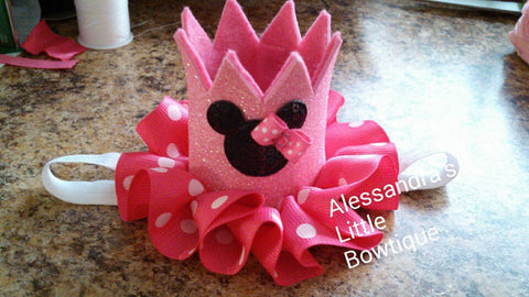 Small pink Minnie mouse crown - AlessandrasLittleBow