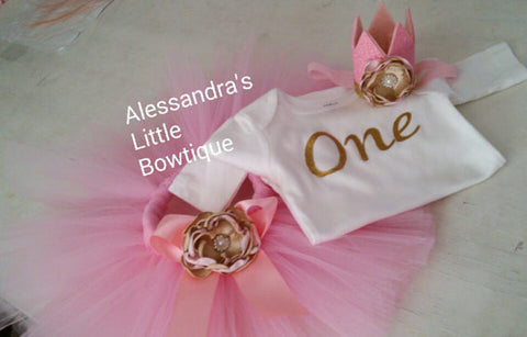 Pink and gold birthday outfit - AlessandrasLittleBow -  - children's boutique  -  -  -