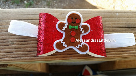 Gingerbread man glitter bow headband