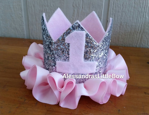 Pink and silver deluxe glitter crown - AlessandrasLittleBow