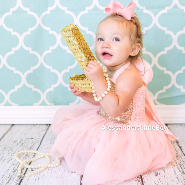 Sophie dress in peach and gold