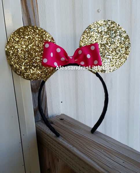 Ears glitter headband with polka dots bow - AlessandrasLittleBow