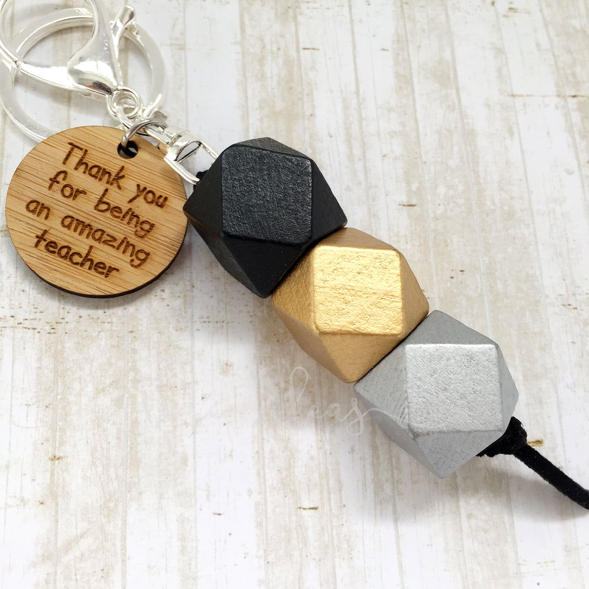 Geo Keyring - Black Walnut - Amazing Teacher version