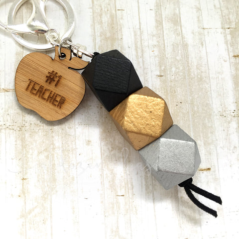 Geo Keyring - Black Walnut - #1 Teacher version