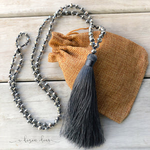 Tassel Necklace - Sparkly - Dark Grey