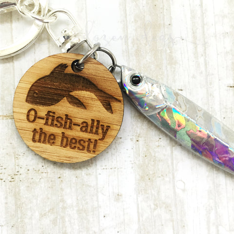 Fishing Keyring - Silver - O-fish-ally