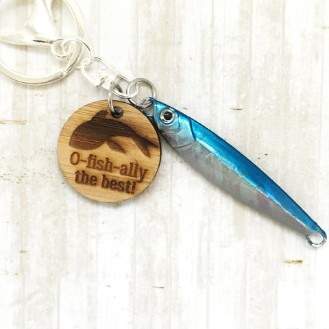 Fishing Keyring - Blue - O-fish-ally the best