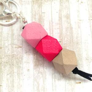 Geo Keyring - Strawberry layer cake