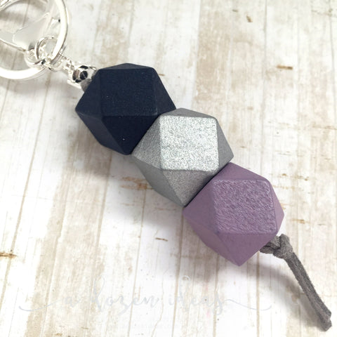 Geo Keyring - Blueberry Layer Cake