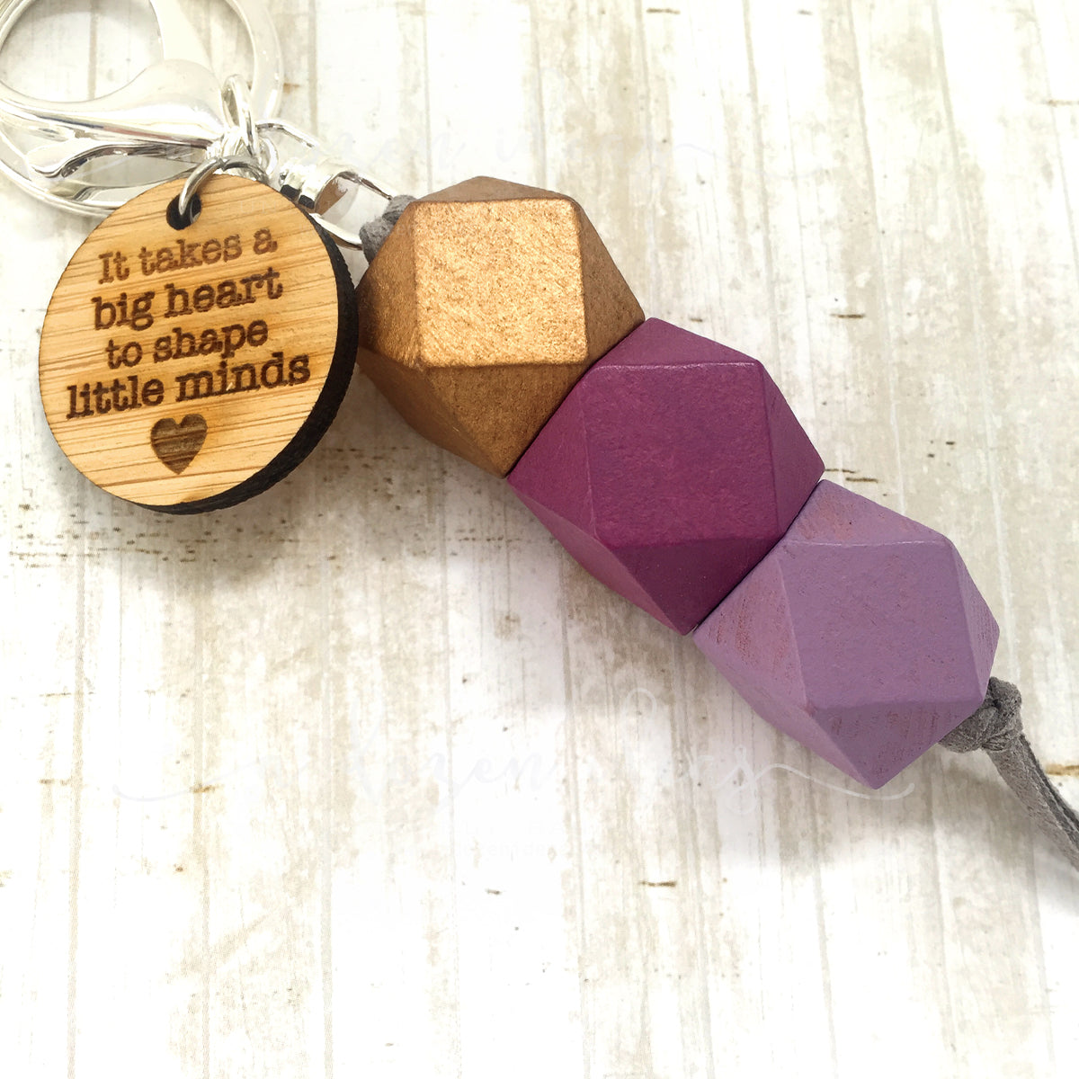 Geo Keyring - Plum Pudding - Big Hearts version