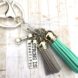 Tassel Keyring - Strong is Beautiful Teal