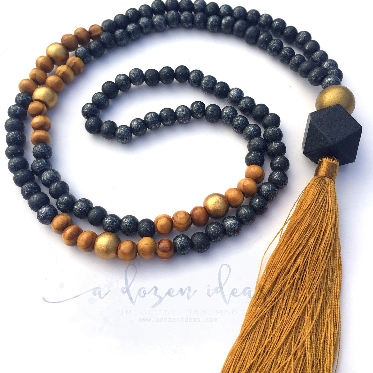 Tassel Necklace - Napier (Black & Gold)