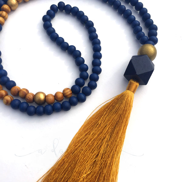 Tassel Necklace -  Napier 2 (Navy & Gold)