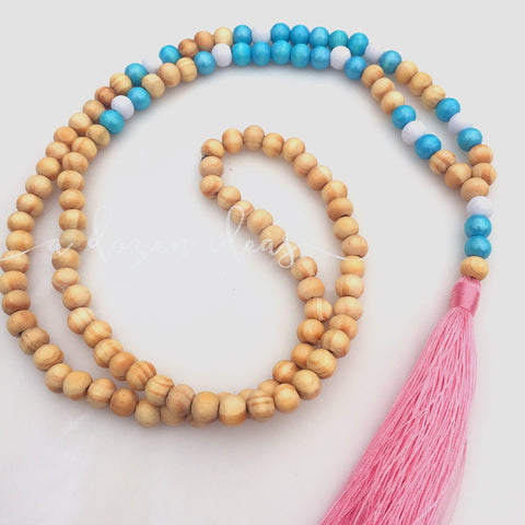 Tassel Necklace - Nic's Design - Beautiful rose pink & teal