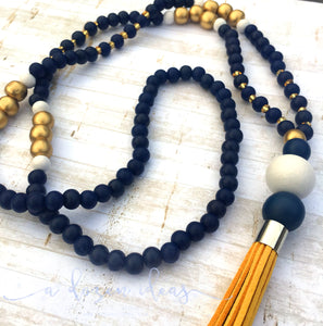 Tassel Necklace - Nic's Design - Golden Bay leather (navy beads)