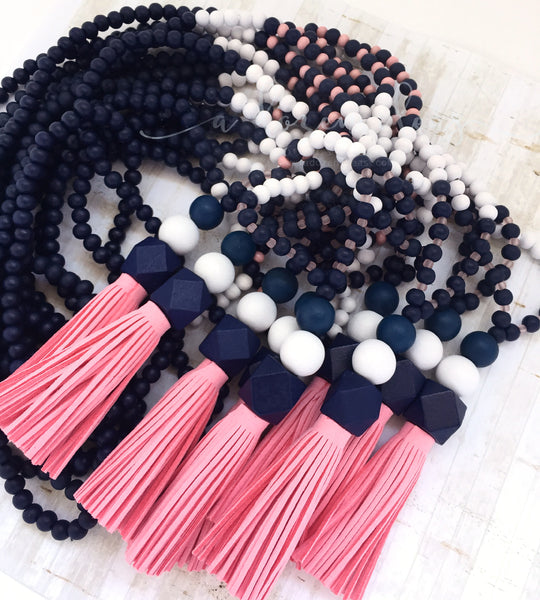 Tassel Necklace - Awanui (navy & pink)
