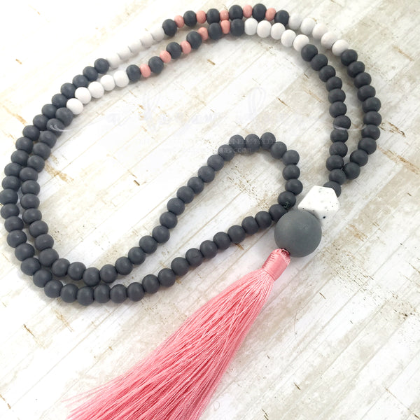 Tassel Necklace - Pink & White Terraces