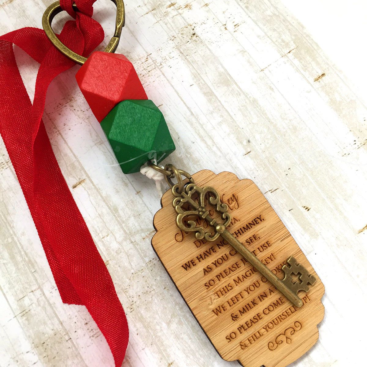 Santa Key - bright colours - large tag