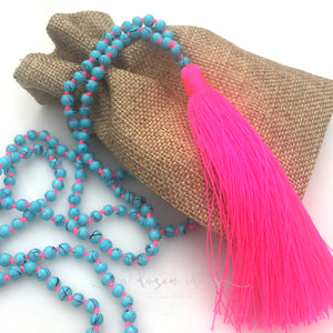 Tassel Necklace - Sparkly - Hot pink/blue