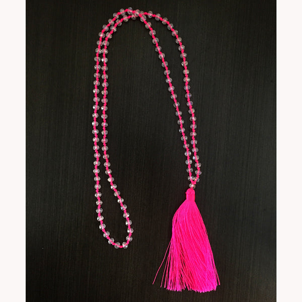 Tassel Necklace - Sparkly - Hot Pink