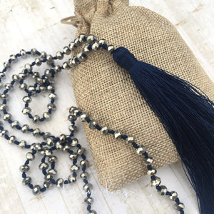 Tassel Necklace - Sparkly - Dark blue