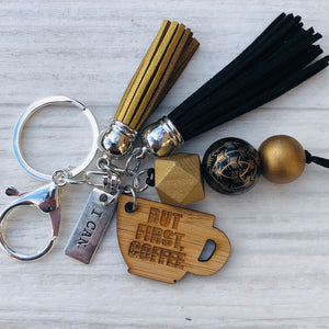 Tassel Keyring - I can, but first coffee