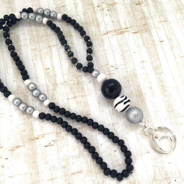 Lanyard - Fenchurch Street - (Fully beaded silver/black)