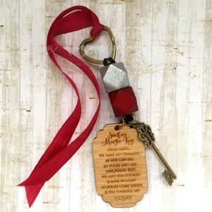 Santa key - Silver bead, large tag