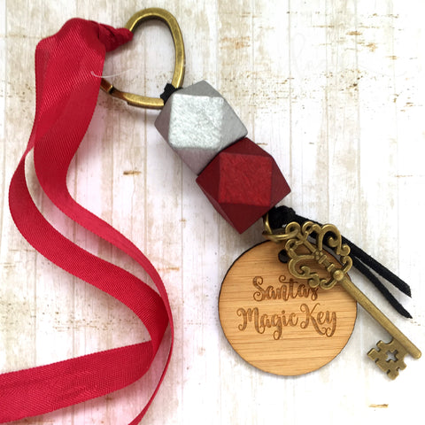 Santa Key - Silver bead, small tag