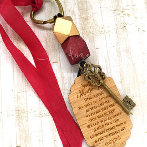 Santa Key - Gold bead, large tag