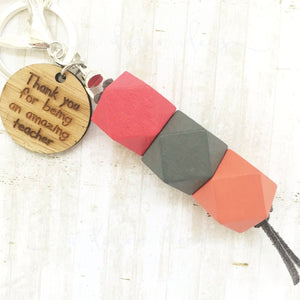 Geo Keyring - Cherry Pecan - Amazing teacher version