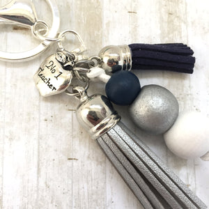 Tassel Keyring - Teacher - Navy