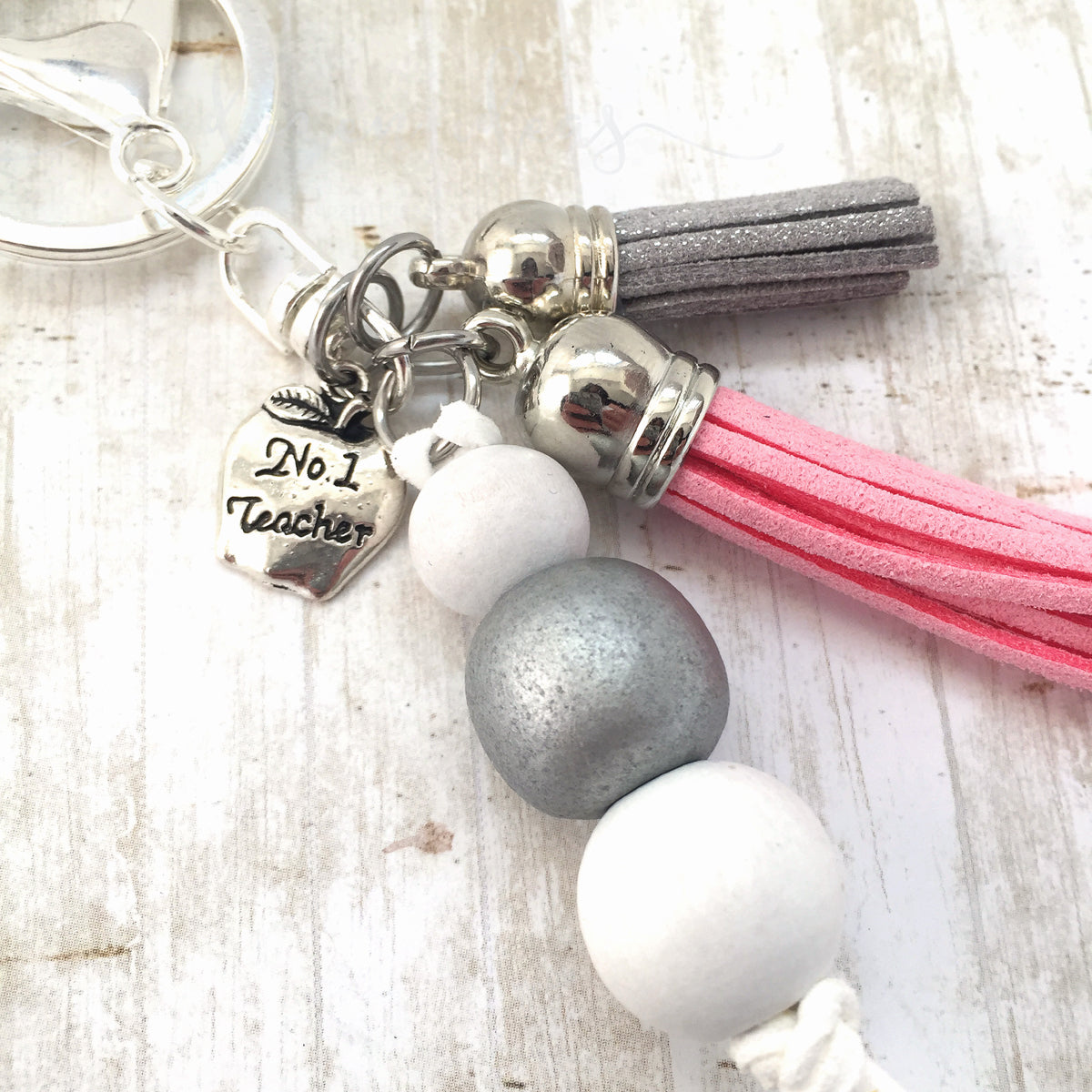 Tassel Keyring - Teacher Pink